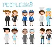 Set różnorodni zajęć ludzie odizolowywający na białym tle Set pełnego ciała zajęcia różnorodni ludzie Zdjęcia Stock