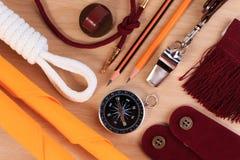 Set różnorodny campingowy wyposażenie Fotografia Stock