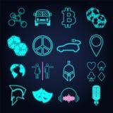 Set różnorodny neonowego światła znak i symbol royalty ilustracja