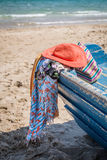 Set różnorodny odzieżowy i akcesoria dla kobiet na plaży Zdjęcia Stock