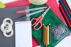 Set różnorodny szkoły i biura materiały Zdjęcie Stock
