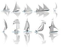 Set różny żeglowanie wysyła ikonę (prosty wektor) Royalty Ilustracja
