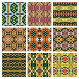 Set różny bezszwowy barwiony rocznik Fotografia Stock