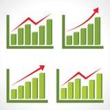 Set różny biznesowy wykres z powstającą strzała Zdjęcie Stock