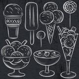 Set różny lody na blackboard Obrazy Royalty Free
