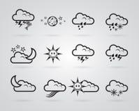 Set różny siwieje pogodowe ikony ilustracja wektor