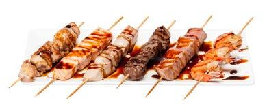 Set różny skewers kebabu szaszłyk odizolowywający na bielu fotografia stock