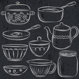 Set różny tableware na blackboard Zdjęcia Royalty Free