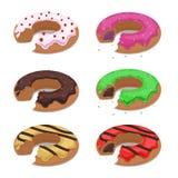 Set różny wektor gryźć donuts ilustracji