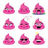 Set różowa i wspaniała emoji ikona z różnym twarzy wyrażeniem Zdjęcia Stock