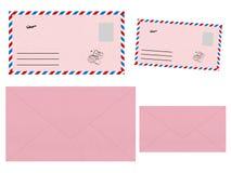 Set różowe koperty royalty ilustracja