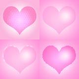 Set różowi walentynka dnia serca Obraz Stock