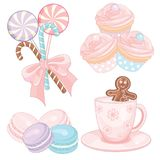 Set różowy boże narodzenie cukierek Obraz Stock