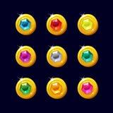 Set różne kreskówek monety z kolorowymi gemstones Fotografia Stock