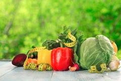 Set różni warzywa dla zdrowego jedzenia na drewnianym stole Fotografia Royalty Free