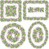 Set różni wzory i granicy - kwadrat, ponowny Zdjęcia Royalty Free