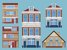 Set różnorodni domy miejscy Obraz Stock