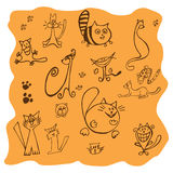 Set różnorodni kotów rysunki - ilustracja Zdjęcie Stock