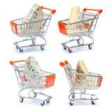 Set Różnorodny ser w wózek na zakupy na bielu Zdjęcie Stock