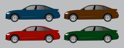 Set różny koloru samochód, realistyczny samochód modeluje Obrazy Royalty Free