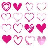 Set 16 różnych serc Ilustracja Wektor