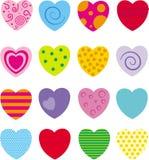 Set 16 różnych serc Ilustracji