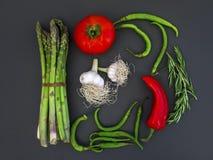 Set śródziemnomorscy warzywa na ciemnym tle z tempem Obrazy Royalty Free