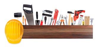 Set ręk narzędzia i ciężki kapelusz Zdjęcia Royalty Free