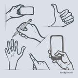 Set ręka gesty z smartphone i inny ilustracji