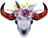Set ręka malująca akwarela kwitnie, liście, czaszka rogów byk w wieśniaka stylu Artystyczny skład doskonalić dla kwieciste royalty ilustracja