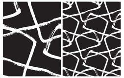 Set 2 ręka Rysującego Nieregularnego Geometrycznego wektoru wzoru Bielu muśnięcia linie Odizolowywać na Czarnym tle royalty ilustracja