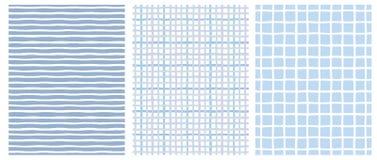 Set 3 ręka Rysującego Nieregularnego Geometrycznego wzoru Linie i siatki royalty ilustracja