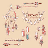 Set ręka Rysujący Boho elementy Zdjęcia Stock