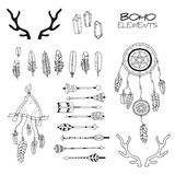 Set ręka Rysujący Boho elementy Obrazy Stock