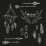 Set ręka Rysujący Boho elementy Zdjęcia Royalty Free