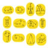 Set ręka rysujący doodle dom Obrazy Stock