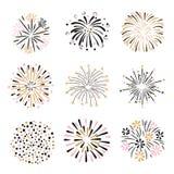 Set ręka rysujący fajerwerki w menchii, złotych i czarnych kolorach, ilustracja wektor