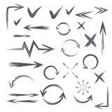 Set ręka rysujący markier dla i strzała strony internetowej i planu Obrazy Stock