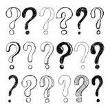 Set ręka rysujący nakreślenie znaki zapytania również zwrócić corel ilustracji wektora ilustracji