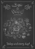 Set ręka rysujący owoce morza na blackboard Fotografia Royalty Free