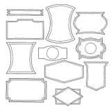 Set ręka rysujący rocznika loga kształty Fotografia Royalty Free
