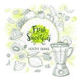 Set ręka rysujący smoothie Zdjęcie Royalty Free