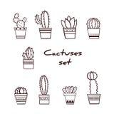 Set ręka Rysujący sukulenty w garnkach i kaktusy Zdjęcia Stock