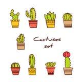 Set ręka Rysujący sukulenty w garnkach i kaktusy Obrazy Royalty Free