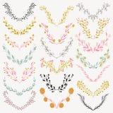 Set ręka rysujący symetryczni kwieciści graficznego projekta elementy w retro stylu Zdjęcia Royalty Free