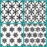 Set ręka rysujący wektorowy bezszwowy wzór z czarnymi płatkami śniegu Zdjęcia Royalty Free