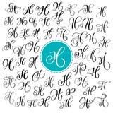 Set ręka rysujący wektorowy kaligrafia list H Pismo chrzcielnica Odosobneni listy pisać z atramentem Ręcznie pisany muśnięcie sty royalty ilustracja