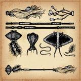 Set ręka rysunkowego atramentu elementy militarna broń i cudgel Zdjęcia Stock