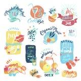Set ręki rysować akwareli etykietki i majchery owoce morza Obrazy Royalty Free