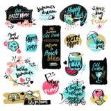 Set ręki rysować akwareli etykietki i odznaki lato ilustracja wektor